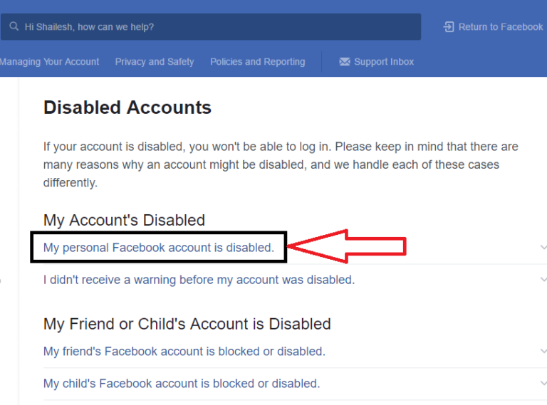 My Personal Facebook Account is Disabled