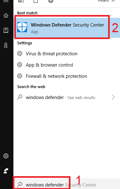 How to turn on Windows Defender in the Security Center