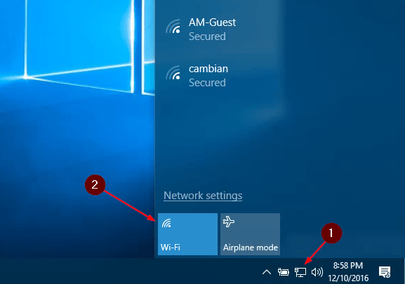 Enable WiFi in Windows 10