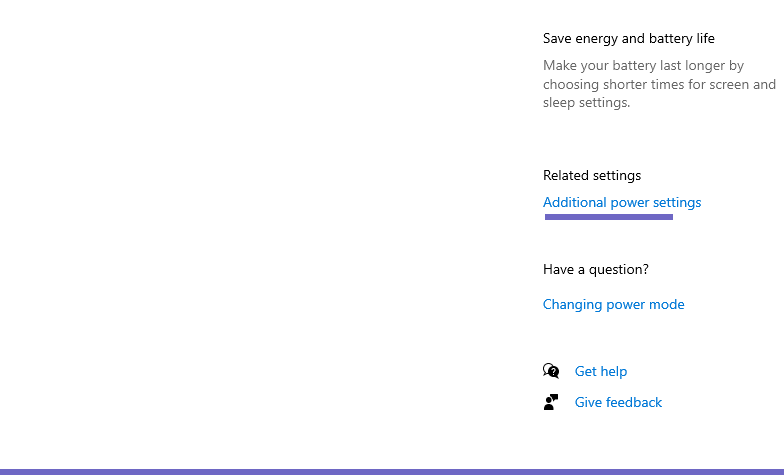 Related settings. Click the Additional power settings menu