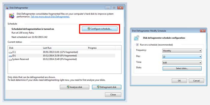 Scheduling Defrag in Windows 7