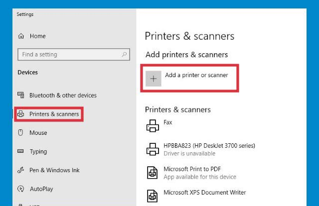 Add a printer or scanner