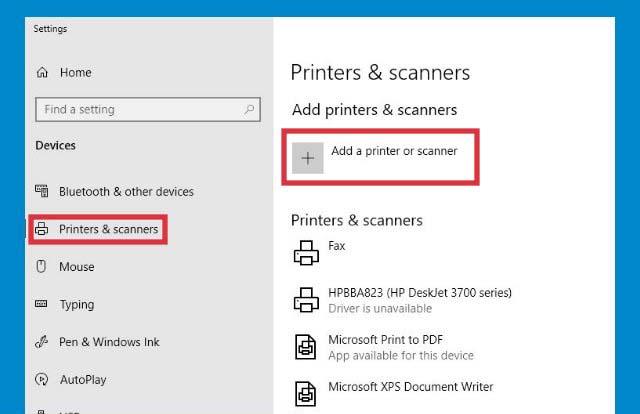 Add a printer or scanner