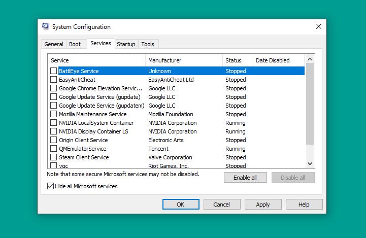 Disable Semua Service di MSConfig