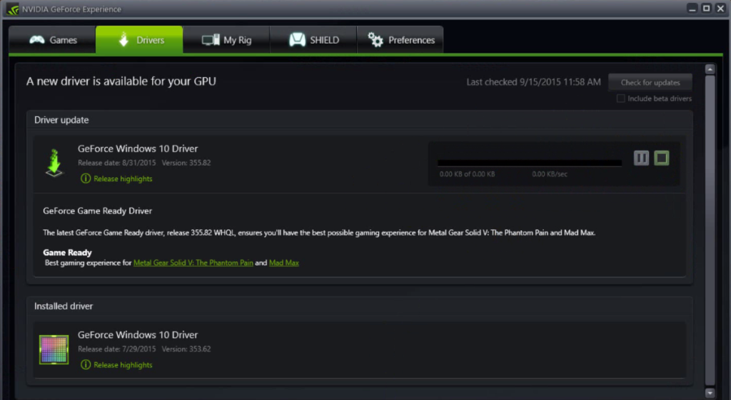 Manually update Nvidia driver if GeForce Experience is not working