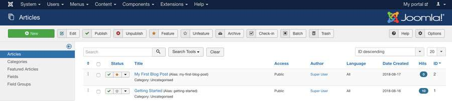 creating blog post in joomla dashboard