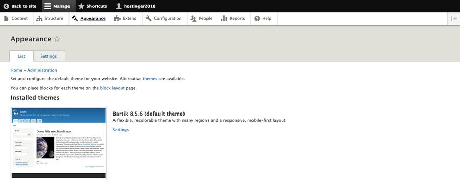 drupal appearance section in dashboard