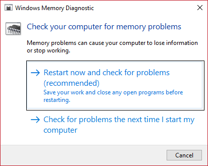run windows memory diagnostic 1