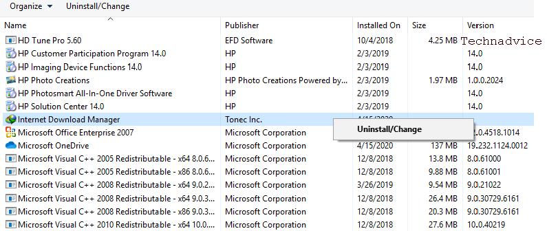 Delete IDM Through Control Panel