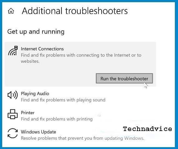 Run the Network Troubleshooter 2