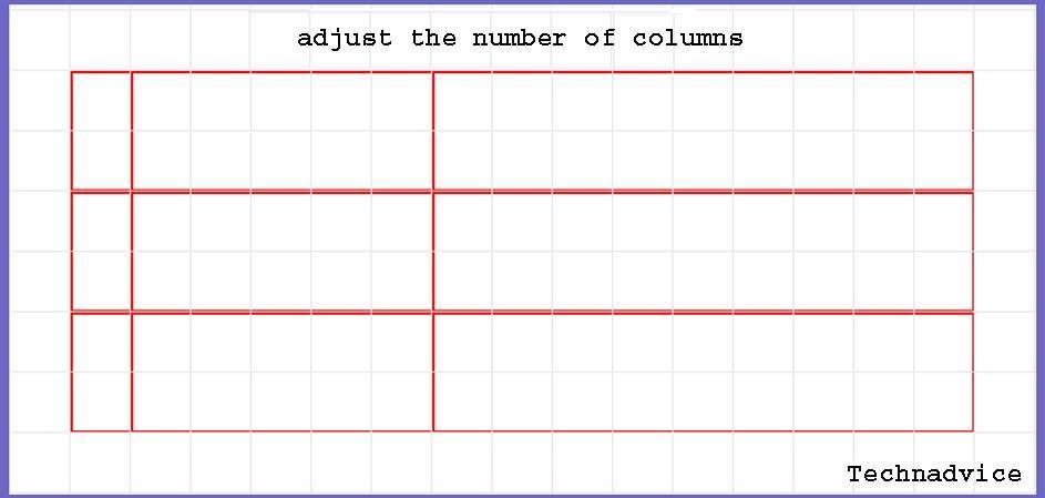 adjust the number of columns