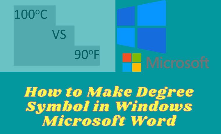 How to Make Degree Symbol in Windows Microsoft Word