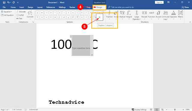 How to make a degree symbol in Microsoft Word Windows 10