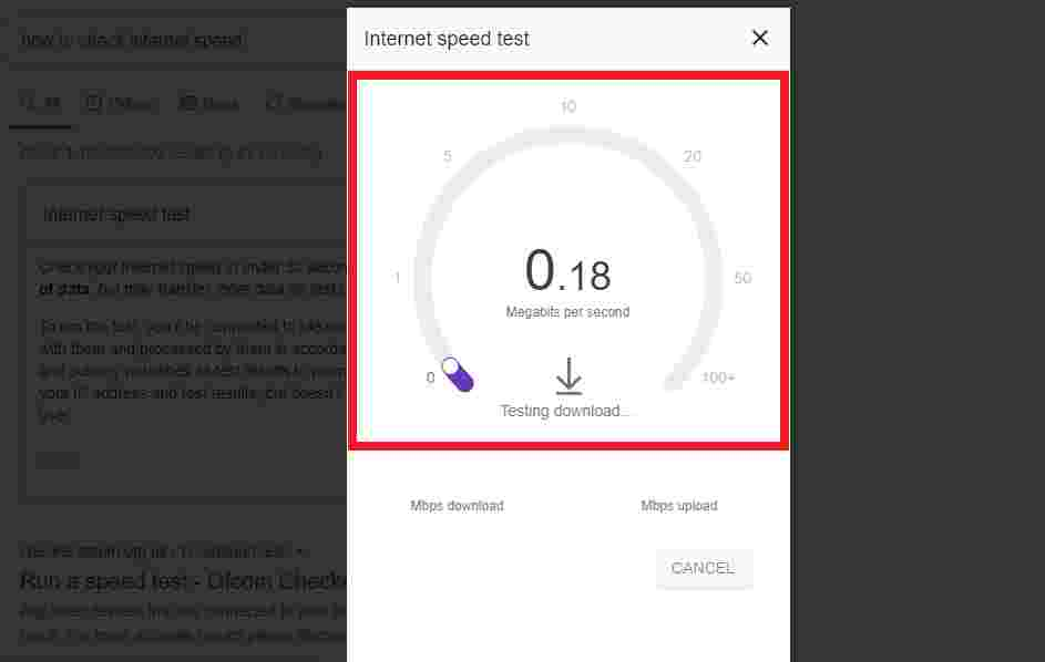 Running an Internet Speed Test