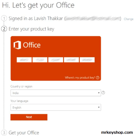 Activate Office the usage of Product Key